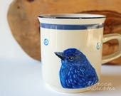 Reserved for Nicole! Indigo Bunting Hand-Painted Coffee Cup - Bird on Stoneware Mug - Art Painting on Ceramic - Useful Art Gift for Her
