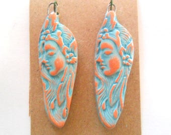 Distressed Turquoise Glazed Terra Cotta Fired Clay Petroglyph Lovely Lady Findings Pair