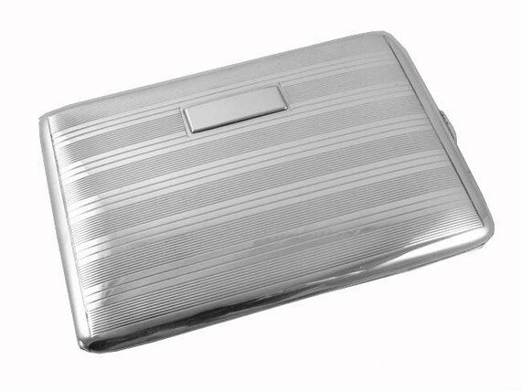 Vintage Art Deco signed Ronson sterling silver cigarette case / smoking / tobacciana / 4 ounce / business card case