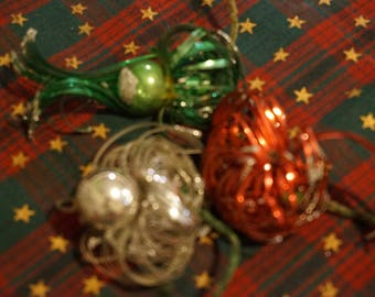 Vintage Christmas Decorations  Set of 3  Red Green Silver Ornaments  1940's  Unique Decorations