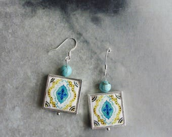 Silver Earrings Portugal Tile Azulejos  Antique,  Aqua and Yellow ESGUEIRA - reversible Framed Mosaic 349