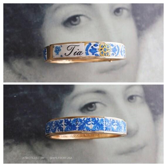 Tia Aunt BRACEleT - Portugal Antique 17th century Azulejo Tile Replicas - Blue Gold-  Ericeira and Braga PRE ORDER