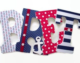 Nautical Nursery Letters - Red White Blue Wood Letters - Boys Wall Letters