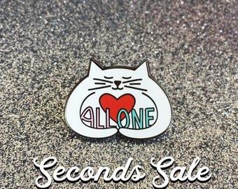 Seconds sale - All One hugging cat enamel pin, white cat pin, cute cat pin, lapel pin badge, kitty love, political pin, HibouDesigns
