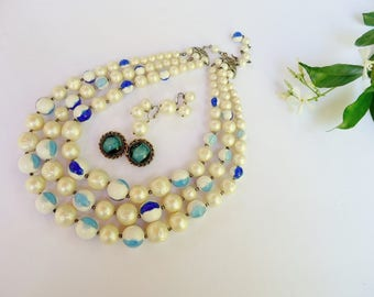 Vintage Jewelry Lot, Triple Strand Beaded Necklace, 2 Signed Clip Earrings - Robert and Marvella - Faux Pearls, Striated Blue White Beads