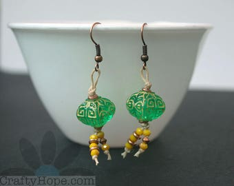 Green and Yellow Earrings - copper accents, fringe, knotted, cute, summery, fun
