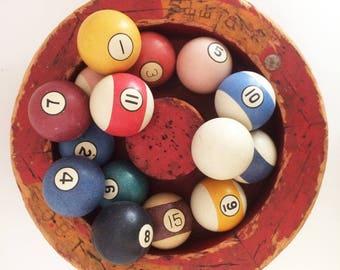 15 Vintage Billiard Balls