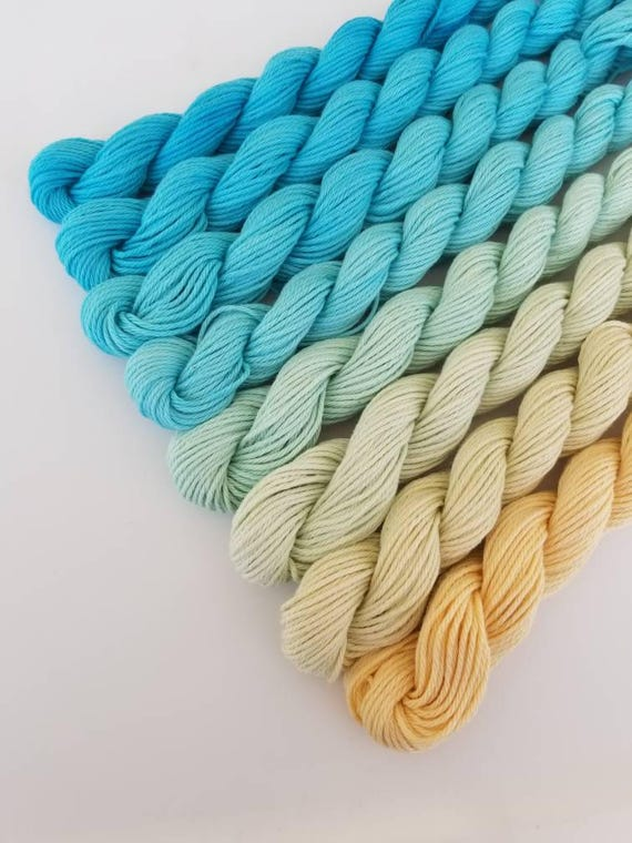 """Ocean View- """"Coney Island Collection"""" 100 Organic Cotton, Hand Dyed Fingering Weight Ombre"""