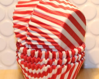 NEW - Red Bar Stripe Cupcake Liners (Qty 45) Red Striped Cupcake Liners, Red Striped Baking Cups, Red Cupcake Liners, Red Baking Cups