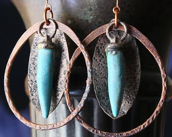 Boho Tribal Hoops, Gypsy Tribal, Ethnic Hoop Earrings, Hammered, Handmade Copper Earrings, Gift For Women, Unique Gift For Wife, Gift Idea