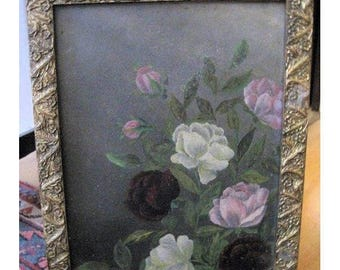 Antique Painting Roses Folk Art