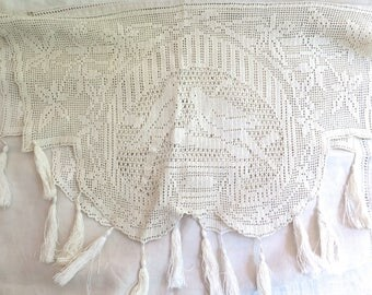 """Antique French Table Runner In Linen and Figurial Lace with Tassels Both Ends 76"""" x 26""""  Dove Motif"""