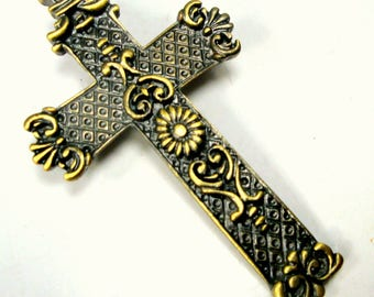 Christian Cross Pin, Brasstone Brooch,   Religious Lapel Jewelry For Men or Women, For The Love of JESUS, Religious Brooch