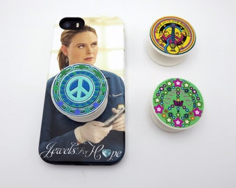 Peace Sign PopSocket, Photo Art , Pretty Hearts, Butterfly Cell Phone Grip, Phone Stand, PopSocket with Dome , Helps People with Arthritis