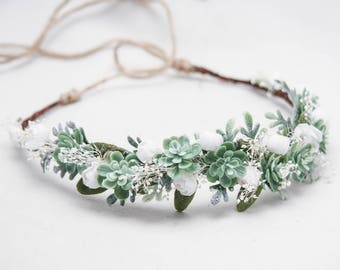 Green Succulent Flower Crown Wedding Headband,  Rustic Bridal Succulent Flower Wreath of Green Succulents, Baby's Breath and Small flowers