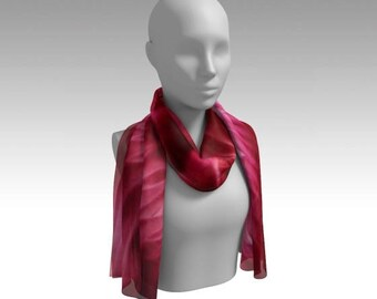 Red Swirls Abstract Chiffon Scarf / Wearable Original Art / Encaustic Painting on 100% Poly Chiffon  / Available in 6 Sizes / Made to Order