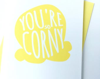 Funny Card for Friend, Just Because Card, Thinking of You Boyfriend Card, Yellow Popcorn Thank You Card, Cute Card, Appreciation Card