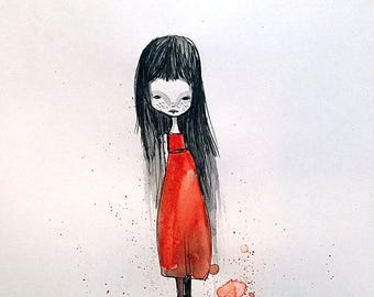 50% Off SALE Medium Art Print - 'Edina' - Dark Haired Girl in a Red Dress - 11x17 OR 13x19 sized print by Jessica von Braun - Watercolor