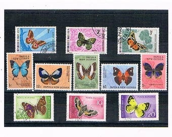 Colourful Butterfly Stamp Selection | vintage butterflies & moths stamp collection | topical thematic stamps for card toppers, decoupage etc