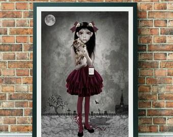 Vampire Girl Art Print - Vampire Print - Vampire Girl & Cat - Gothic Art - Goth Print - Child Of The Night