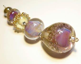 Coordinating Set of Five (5) Lampwork Borosilicate Bumpy Beads: Champagne, Pinks, Purples -- Lot 3N