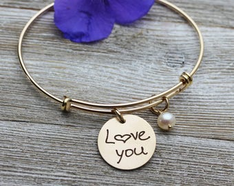 Custom Handwriting Bangle Bracelet engraved with your loved one's actual handwriting, Gold Filled