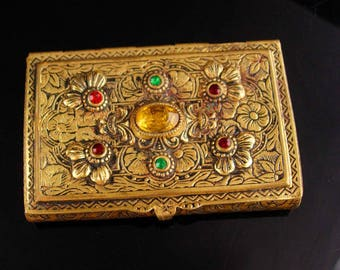Antique Austro Hungarian Calling card case / GRAND TOUR accessory / rhinestone Jewels / vintage box / ornate etchings
