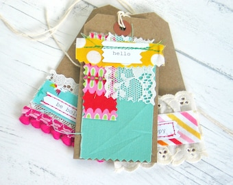 Handmade Fabric Scrap Gift Tags For Scrapbooks Planners Junk Journals Set Of Handmade Tags For Special Gifts Pretty Tags With Fabric Scraps
