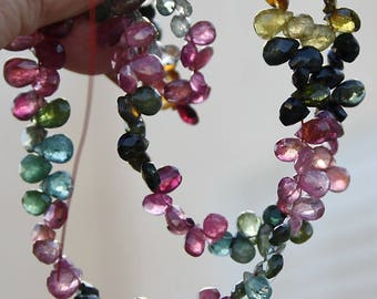 """20.5"""" strand Pink Green Multi Watermelon Tourmaline Faceted Pear Briolette Drop Beads FULL Extra Long strand 121ct weight October birthstone"""