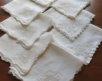 8 Fine Linen Napkins Cutter Crafts Vintage 1940s 50s Shabby Repurpose