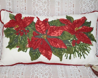 Home for Christmas Holiday Poinsettia Throw Pillow Lumbar Rectancle Pillow NWT
