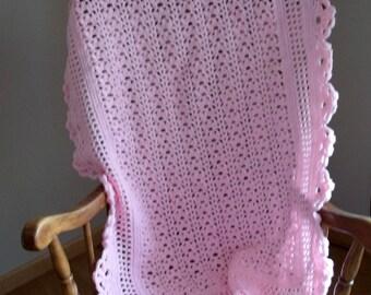 Baby Afghan in Pink, Baby Blanket, Christening Blanket, Doll Blanket