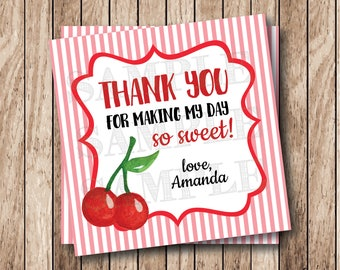 Printable Cherries Thank You Tags, Printable Sweet Cherries Tags, Printable So Sweet Thank You Tags