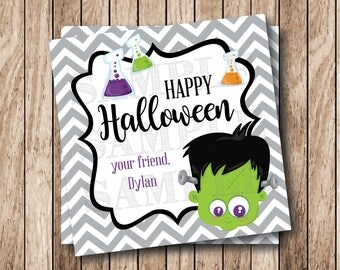 Personalized Printable Halloween Frankenstein Tags, Happy Halloween Tags, Printable Halloween Favor Tags