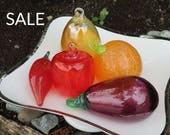 Glass Fruit Ornaments, Se...