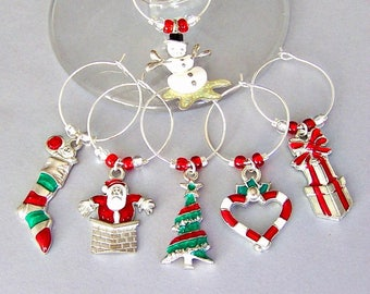 6 Christmas wine glass charms, holiday enameled wine charms, hostess gift, kitchen organization, book club gift, tree, stocking, Santa