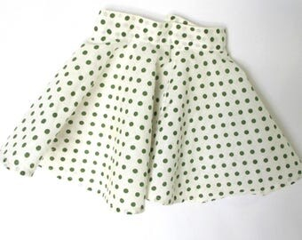 1950s Doll Skirt Full Circle Vintage Clothes Dress Green Polka Dot Fabric Button Back 10 Inch Waist 6 Inch Length to Hem Mid Century Toys