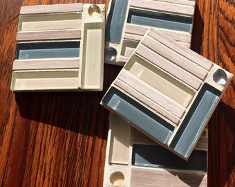 Glass and Stone Mosaic Coasters in Blue and Cream (Set of 4)