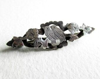 Antique Edwardian silver brooch, sweetheart pin, vintage sterling silver brooch, bird brooch