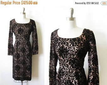 20% OFF SALE 50s velvet dress, vintage 1950s black velvet illusion dress, 60s black velvet wiggle dress, large l