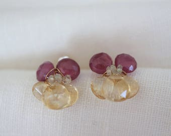 Gold Earrings Yellow and Pink Viola 14k Gold Filled