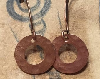 pure copper rustic earring rings