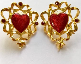 Signed Vintage Bold Red Enamel Goldtone Statement Heart Earrings