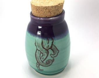 Green and Purple Tentacle Stash Jar