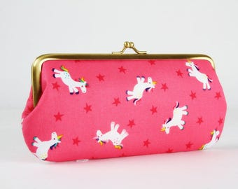 Eyeglass frame purse - Unicorns in pink - Long purse / Eyeglass fabric case / Cell phone holder / Rainbow / pink stars