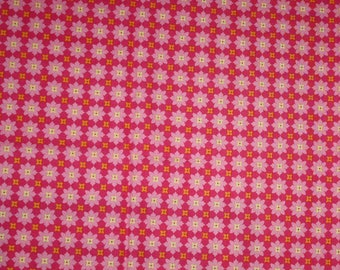 michael miller fabric Patty Young andalucia tiny flowers cotton quilting fabric destash fabric by the yard hot pink yellow