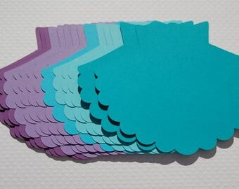 Jumbo paper die cut shells  20 mermaid birthday under the sea shower wedding decor purple aqua