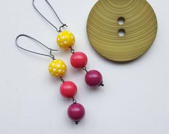 jawbreaker earrings - polka dots, bright earrings, magenta, fuchsia, hot pink - vintage beads, lucite, sterling silver, long