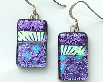 Purple Dichroic Fused Glass Earrings - Bar Earrings - Handmade Earrings - Purple Drop Earrings - Fused Glass Jewellery EE 606