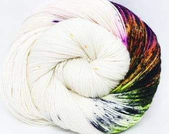 "Acoustic Sock Yarn - ""Electric BOOgaloo"" - Handpainted Superwash Merino - 400 Yards"